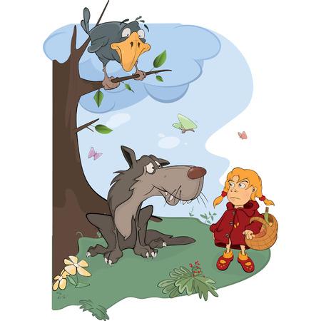 little red riding hood: Il Lupo e il cartone animato Little Red Riding Hood Vettoriali