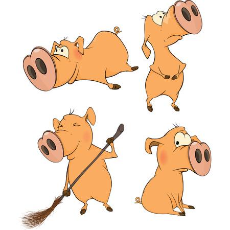 Set of cheerful pigs  Cartoon Illustration
