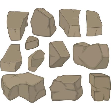 ustawić kamienie kreskówki Ilustracje wektorowe
