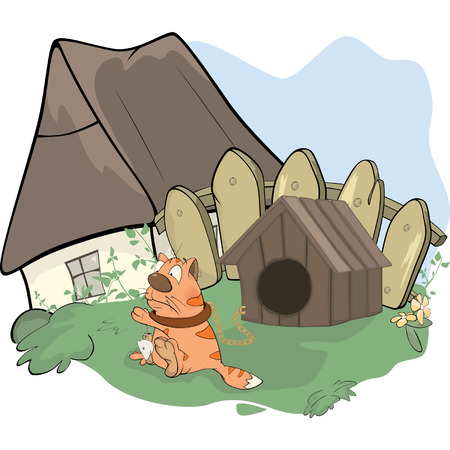 doghouse: the tabby cat and a doghouse cartoon  Illustration