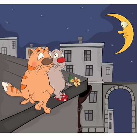 Cats on a roof cartoon Vector