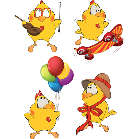 yellow character: Set of Chicken Cartoons Illustration