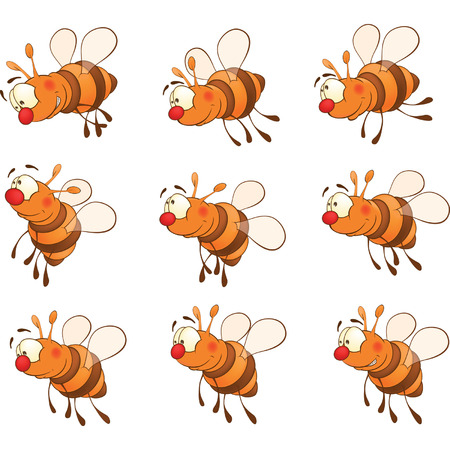 storyboard: set of bees cartoon