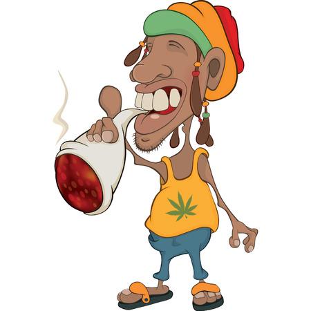 African man rastaman cartoon