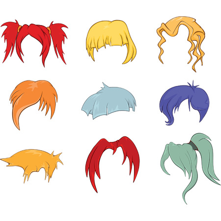 wigs: A set of hairstyles, wigs for illustrations Illustration