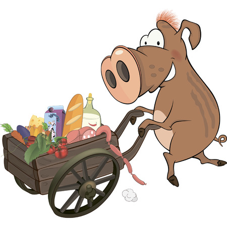 Wild boar and the cart with products  Vector
