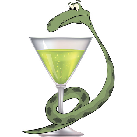 snake and a bowl: Snake and a glass Illustration
