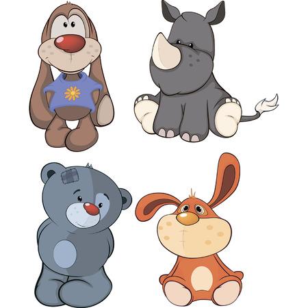 Conjunto de dibujos animados juguetes de peluche