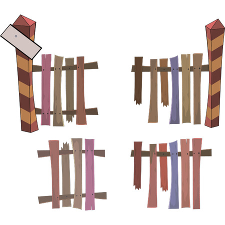 boundary: Boundary post and fence Illustration