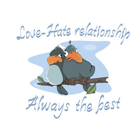 Birdies  Postcard  Cartoon  Vector