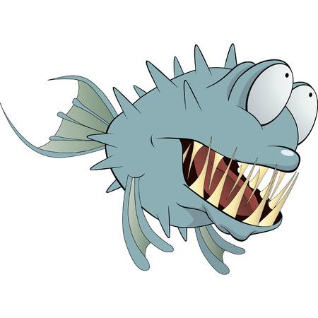Deep-water fish  Balloonfish  Cartoon  Ilustração