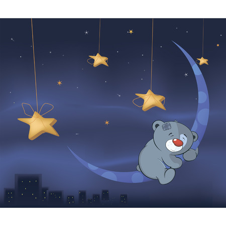 Bear cub and the moon cartoon  Vector