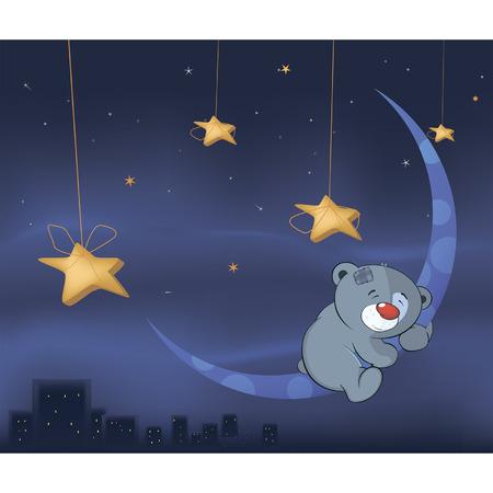 luna caricatura: Cachorro de oso y de la historieta de la luna Vectores