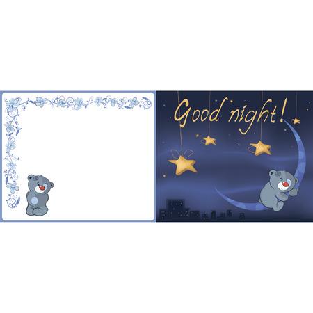 Bear cub and the moon postcard