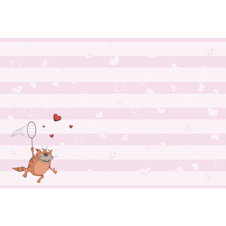Cat and hearts postcard  Vector