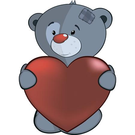 shape cub: The stuffed toy bear cub and red heart cartoon