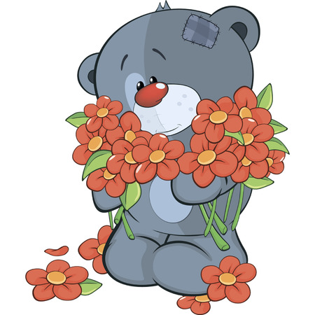 stuffed toy: The stuffed toy bear cub and flowers