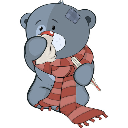 The stuffed toy bear cub and illness cartoon Vector
