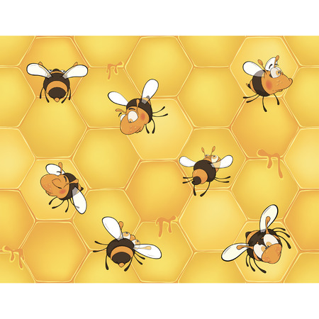Bees and bee s honeycomb  Seamless pattern   Illustration