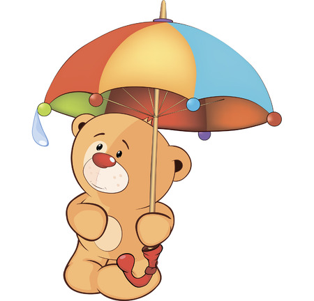 A bear cub and an umbrella  Vector