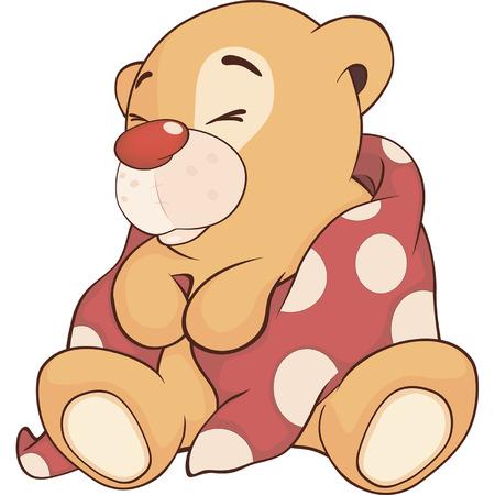 siesta: A stuffed toy bear cub cartoon  Illustration