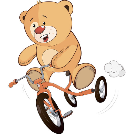 A stuffed toy bear cub and a children s tricycle cartoon  Vector