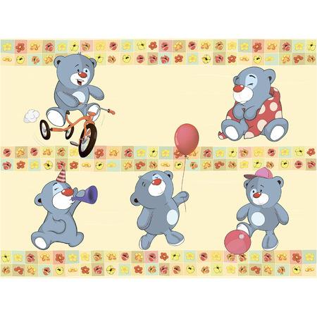 find similar images:    Find Similar Images Border for wallpaper with stuffed bear cubs  Illustration