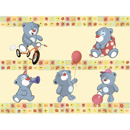Find Similar Images Border for wallpaper with stuffed bear cubs  Illustration