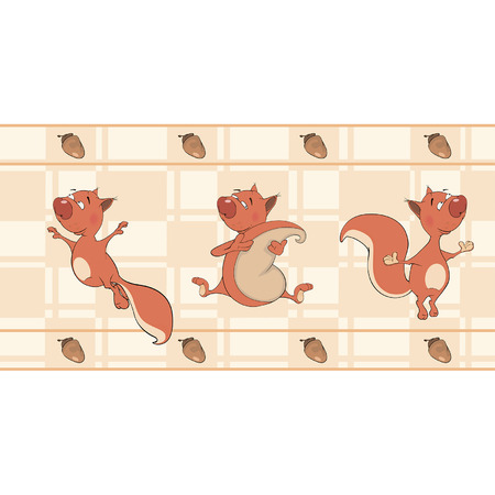 rascal: Border for wallpaper with squirrels  Illustration