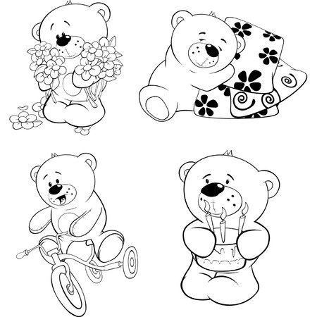 A set of bears  Coloring book  Illustration