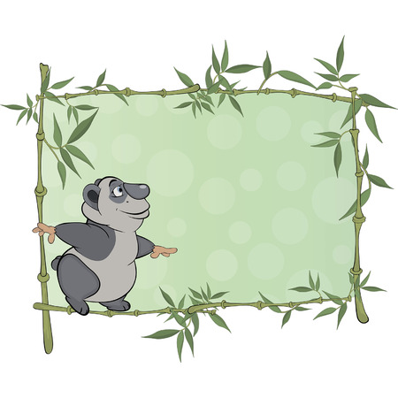 panda with blank sign cartoon  Vector