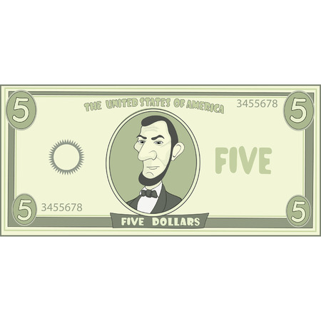 five dollar bill: cartoon American dollar