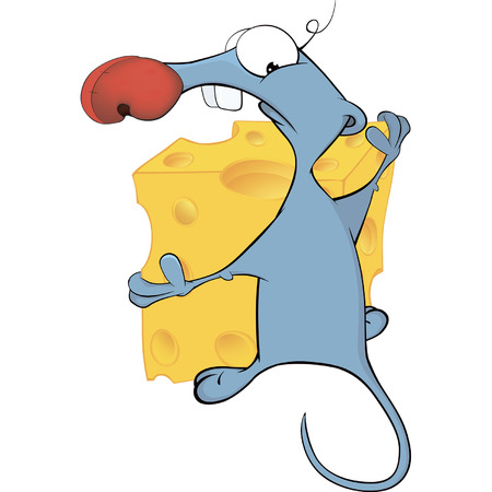 mustached: Little mouse and cheese cartoon
