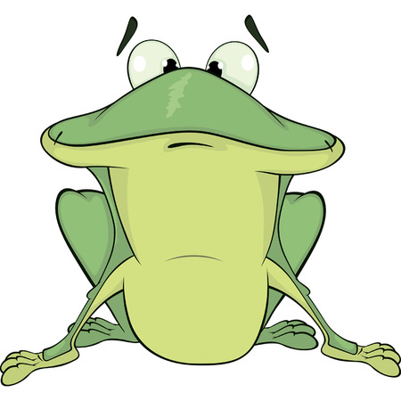 repulsive: A green frog  Cartoon  Illustration