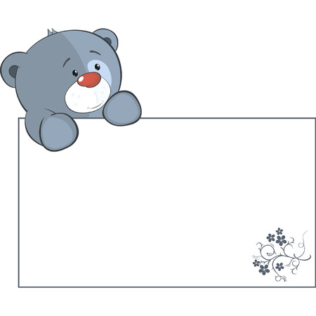 A stuffed toy bear cub with a empty blank cartoon