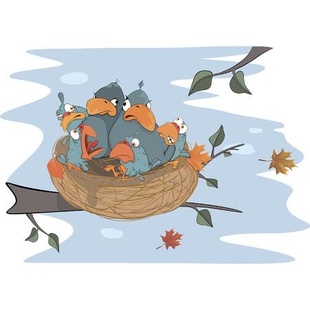 Birds with her four babies in the nest cartoon  Vector