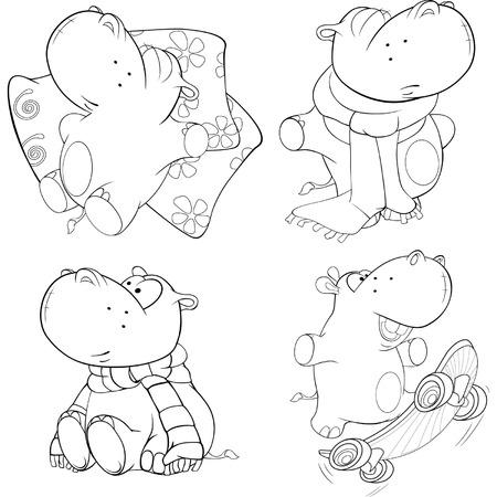 huggable: A set of hippopotamuses. Coloring book