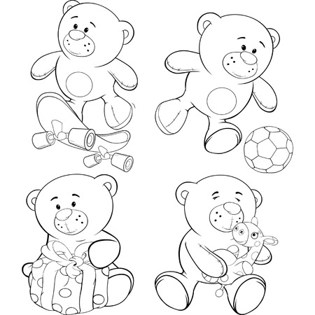 A set of bears. Coloring book  Vector