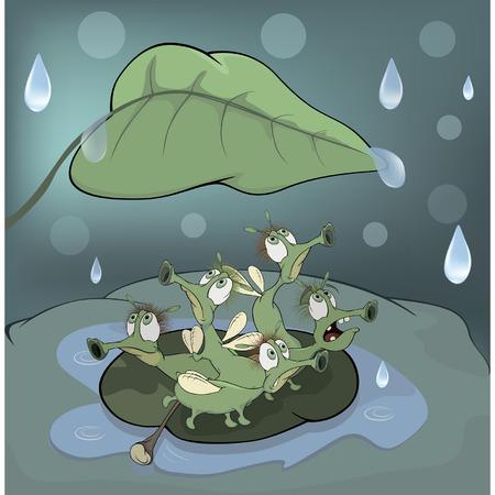 A choir of singing beetles in the rain cartoon  Vector