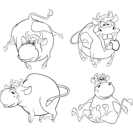 impudent: Happy cows.Clip-Art. Cartoon. Coloring book