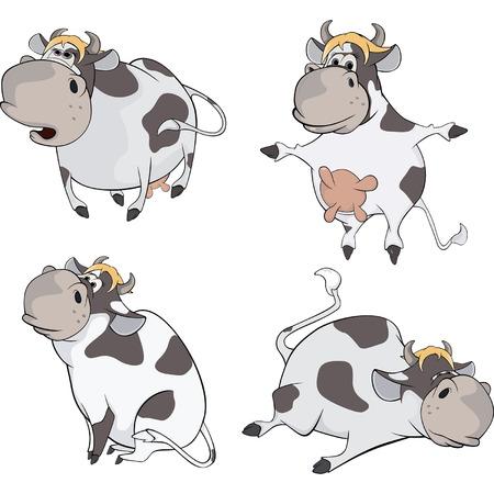 Happy cows.Clip-Art. Cartoon Vector