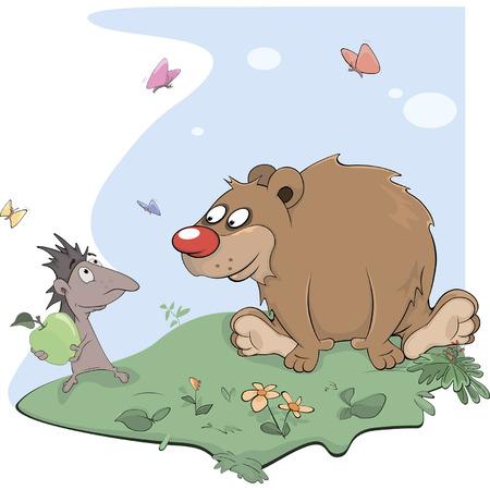 Hedgehog and bear cartoon Vector