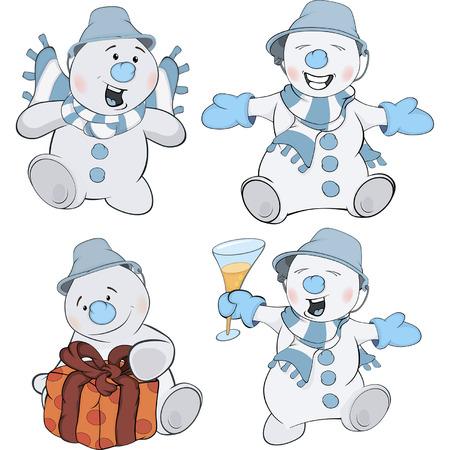 Set of funny Christmas snowman cartoon Vector