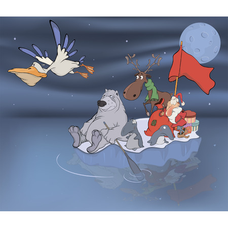 Adventures of Santa Claus and his friends Vector