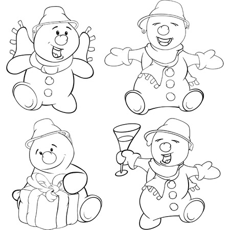Set of funny Christmas snowman. Coloring book Vector