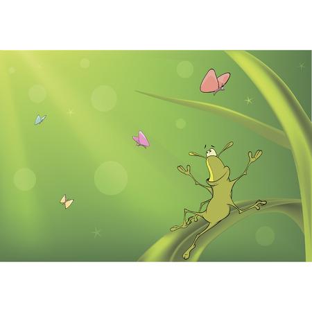 A green bug and butterflies cartoon Vector
