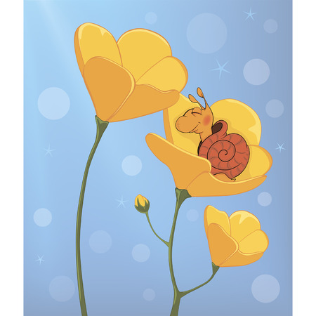 somnolence: A sleeping snail and a yellow flower cartoon Illustration