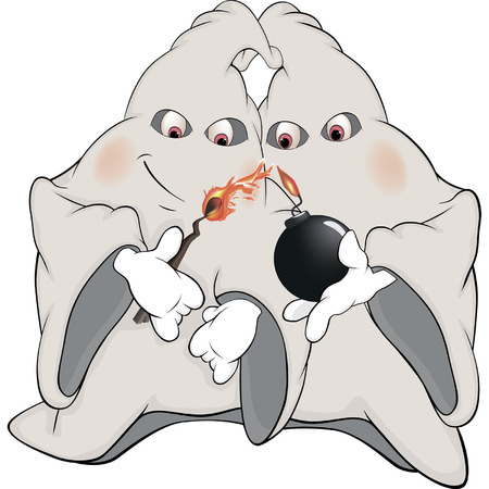 Ghosts and bomb cartoon Vector