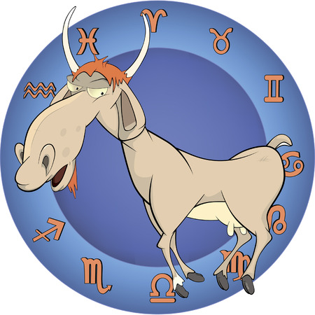 The year of the goat. Chinese horoscope cartoon Vector