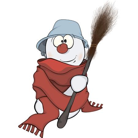 snowball: Christmas Snowball. Cartoon Illustration